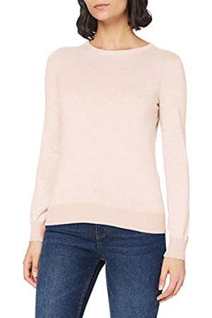 MERAKI Damen Strickpullover - Amazon-Marke: Baumwoll-Pullover Damen mit Rundhals, Rosa (Pale Pink), 40