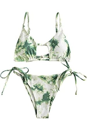 Zaful Sexy Cutout Gerippter Tanga-Bikini-Set Krawatte Seite Crisscross Tanga Bikini - - Medium