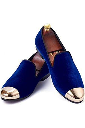 Harpelunde Herren Halbschuhe - Herren Klassische Hochzeitsschuhe Handmade Velvet Loafers mit Gold Cap Toe 9 M US