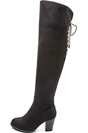 Savaii Damen Overknees - Damen Stiefel mit rundem Zehenbereich, hoher Absatz, klobig, kniehoch