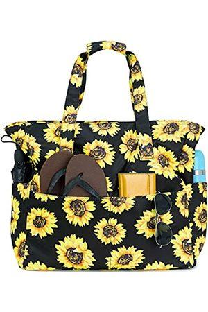 BLUBOON Damen Handtaschen - Strand-/Pool-Tasche für Damen, groß, mit Nassfach, für Wochenendausflüge, Reisen, wasserdicht, (Sonnenblume )