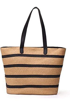 JOSEKO Damen Strandtaschen - Sommer-Strandtasche, für Damen, Stroh-Papier, Henkel, große Kapazität, Reise-Handtasche (34 x 13 x 34 cm (L x B x H)