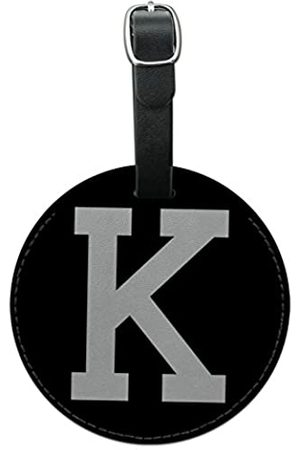 GRAPHICS & MORE Reisetaschen - Letter K Initial Black White Round Leather Luggage Id Tag Suitcase Carry