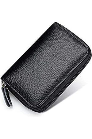 JIUFENG Kartenetui RFID-blockierend, echtes Leder, Mehrzweck-Reißverschluss, Kartenhalter, Münzbeutel