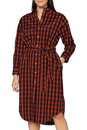 Seidensticker Damen Freizeitkleider - Damen Blusenkleid mit Hemdblusenkragen, Mehrfarbig (Ginger Bread)