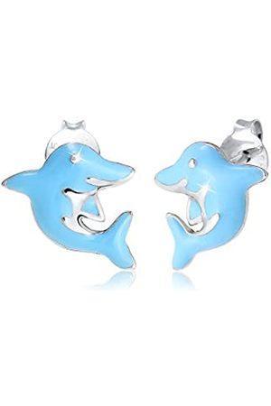 Elli Ohrringe Kinder Delfin Tier Urlaub Emaille in 925 Sterling