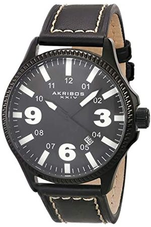 Akribos XXIV Herren Uhren - Herren Analog Quarz (Japanisch) Uhr mit Leder Armband AK833WT_White-Standard