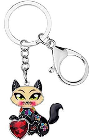 BONSNY Mädchen Ringe - Schlüsselanhänger, Emaille, Metall, Herz mit Strasssteinen, für Frauen, Kinder, Auto, Geldbörse, Tasche, Ringe, Charm