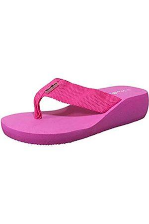 starbay Damen Flip Flops - Damen Keilabsatz Canvas Zehentrenner Sandalen Flip Flops, Violett (fuchsia)