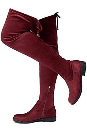 Herstyle Damen Overknees - Secret Obsession Damen Wildleder Oberschenkelhoch Dehnbare Stiefel - Blockabsatz Seitlicher Reißverschluss Zurück Spitze Overknee Casual Boots, Rot (burgunderfarben)