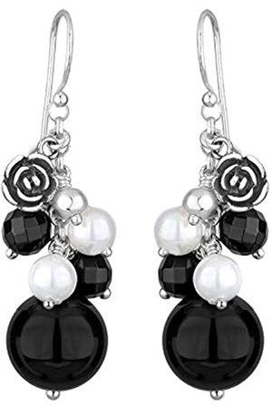 Elli Damen Ohrringe - Ohrringe Damen Rosen Anhänger mit Onyx und Muschelkernperlen in 925 Sterling Silber