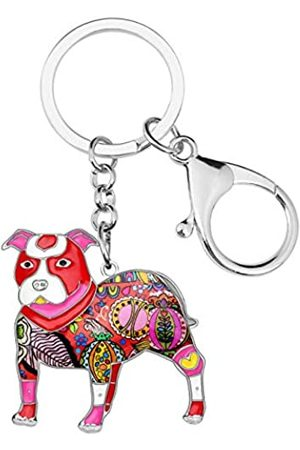 WEVENI JEWELRY Mädchen Anhänger - WEVENI Schlüsselanhänger Boston Pit Terrier Bulldogge Emaille Legierung Modeschmuck für Frauen Mädchen Tasche Charm Zubehör Geschenke