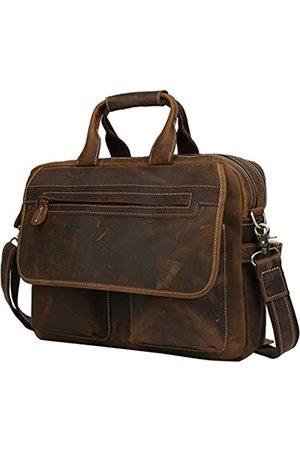 Iswee Herren Handtaschen - Aktentasche aus Leder, passend für Laptops unter 41,9 cm (16,5 Zoll), Schultertasche für Herren, Kuriertasche, Arbeitstasche, Handtaschen, Crossbody (Dunkelbraun, 43