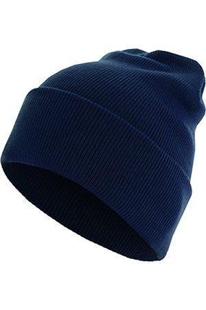 MSTRDS Herren Hüte - Unisex Strickmütze Basic Flap Beanie - einfarbige, neutrale Wintermütze für Damen und Herren ohne Druck und Stick, ohne Logo - Farbe navy