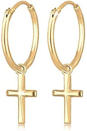 Elli Damen Ohrringe - Ohrringe Damen Creolen Hänger Kreuz Glaube Religion in 925 Sterling Silber