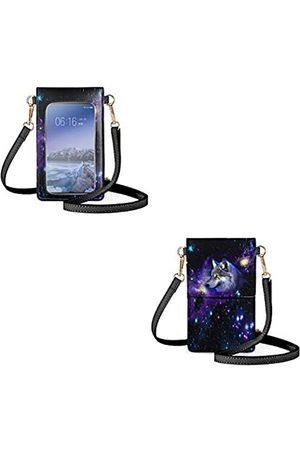 INSTANTARTS Damen Umhängetaschen - Kleine Leder-Geldbörse für Damen, Touchscreen, transparentes Fenster, Handy-Crossbody-Tasche