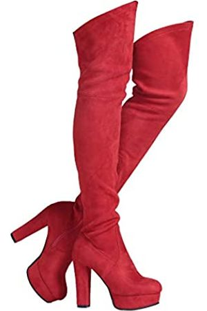 Shoe'N Tale Women Stretch Suede Chunky Heel Thigh High Over The Knee Boots (8