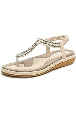 Meeshine Damen Bohemia Flip Flops Sommer Strand T-Strap Flache Sandalen Komfort Walking Schuhe, (Apricot-02)