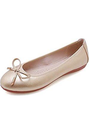 Wollanlily Damen Ballerinas Klassische Schleife Slip-On Komfort Runde Zehen Kleid Schuhe