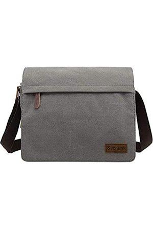 Sechunk Umhängetaschen - Large Vintage Canvas Messenger Cross body bag Shoulder bag (l_Grey