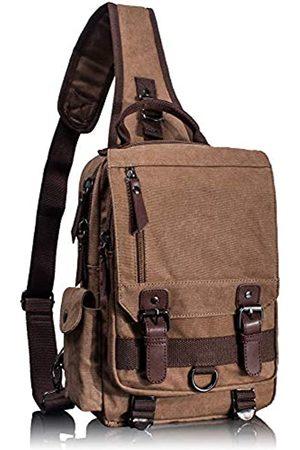 Leaper Canvas Messenger Bag Sling Bag Crossbody Bag Umhängetasche Coffee L