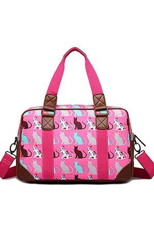 MISS LULÙ Damen Reisetaschen - Damen Reisetasche aus Wachstuch mit Schmetterlingsmotiv, Pink (Katze Pflaume)