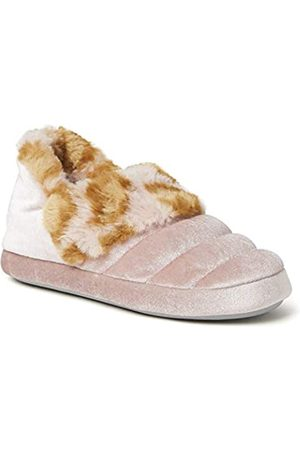 Dearfoams Unisex Child Amelia Velour Bootie with Leopard Cuff Slipper