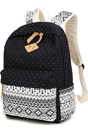 Double Villages LuckyZ Damen-Rucksack, leicht, Segeltuch mit Leder, Tagesrucksack, Schultasche, niedlicher Aufdruck, Reisen, Laptoptasche, Schultertasche, Büchertasche