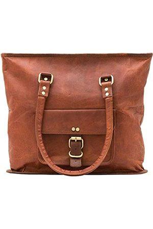 Leather Castle Damen Handtaschen - Damen Tote Bag Handtasche Shopping Reise Schultertasche 16 Zoll Medium Vintage Leder