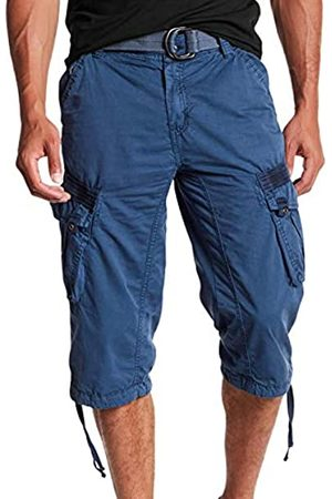 "X RAY Men's Belted Tactical Cargo Long Shorts 18"" Inseam Below Knee Length Multi Pocket 3/4 Capri Pants Size 32"