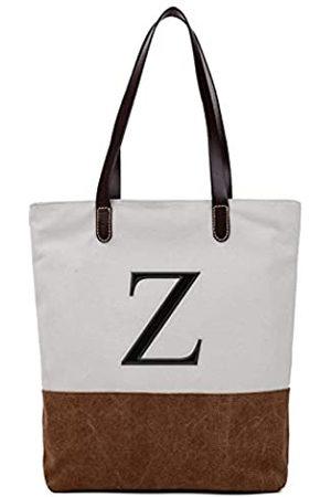 Q-Beans Bestickte Monogramm Name Duotone Braun Frauen Casual Canvas Schultertasche Tasche Messenger Bag Reißverschluss Tote Bags