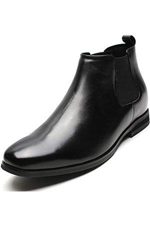CHAMARIPA Herren Chelsea Boots - Chelsea-Stiefel aus schwarzem Kalbsleder, hohe Absätze, 5,9 cm – H82B42K015D US10, ( -h82b42)