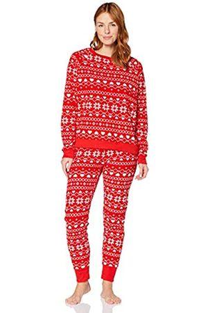 IRIS & LILLY Damen Schlafanzüge - Amazon-Marke: Damen Fleece Pyjama Set, (Fairisle), XL
