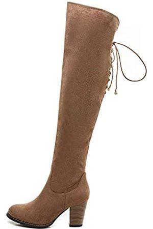 Savaii Damen Stiefel mit rundem Zehenbereich, hoher Absatz, klobig, kniehoch, (taupe)