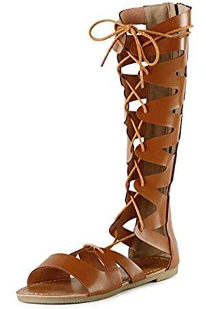 SANDALUP Damen Overknees - Gladiator Sandalen Kniehohe Flache Sandalen Römische Schuhe mit offenen Zehen Design für Damen, (Tan-Pu)