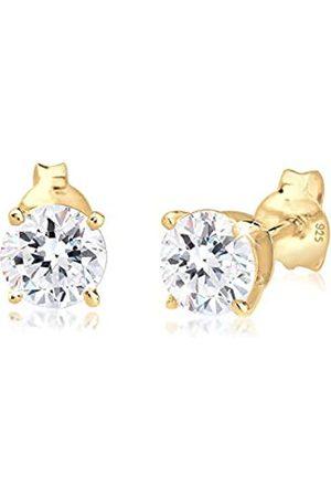Elli Damen Ohrringe - Ohrringe Damen Funkelnd Rund Kristalle in 925 Sterling Silber