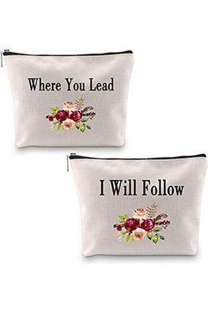 """PXTIDY Damen Koffer - Gilmore Kosmetiktasche für Mädchen, mit Aufschrift """"Where You Lead I Will Follow"""", Geschenk für Mutter und Tochter"""