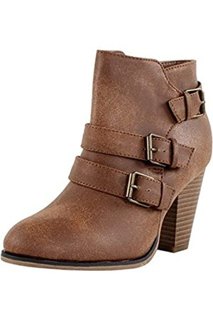 FOREVER Damen Stiefeletten - Women's Buckle Strap Block Heel Ankle Booties