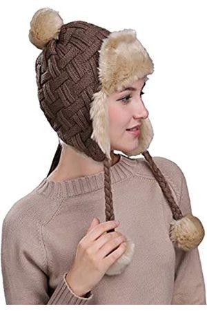Ambientehome Damen Hüte - Home Prefer Damen Mädchen Mütze mit Ohrenklappe, Kunstfell, Strick, Warm