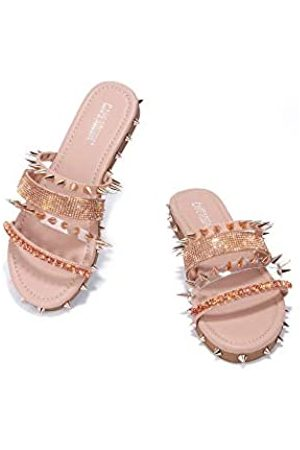Cape Robbin Xtreme Sandalen Slides für Damen, Nieten, Pantoletten, Schlupfschuhe, Pink (rose )