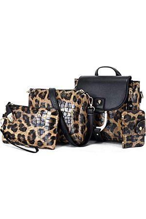 ZiMing Damen Rucksäcke - Damen Handtaschen PU Leder Leopard Print Rucksack Schultertaschen, Violett