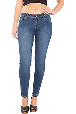 Way Of Glory Damen Slim - Damen Jeans Katy Slim Fit & Narrow Leg Mid Blue Wash Katy Casualmode 5 Pocket Jeans Slim Fit Unifarben Katy