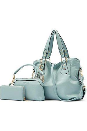 YZAOLL Damen Geldbörsen & Etuis - Purse and Wallet set for Women Large Hobo Bags Female Fashion Tote Shoulder Bags Crossbody Wallets Satchel Purse Set 3pcs skyblue