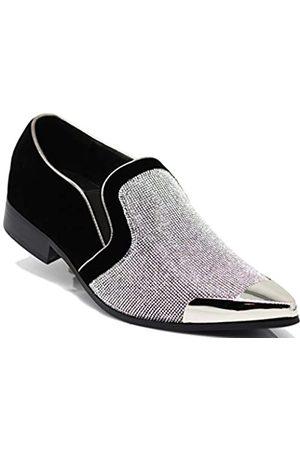 Enzo Romeo Herren Elegante Schuhe - CRT Herren Strass-Chrom-Zehenschuhe, Veloursleder, spitz, elegante Loafer, Schlupfschuhe
