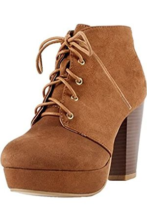 FOREVER Damen Stiefeletten - Camille-86 Damen Comfort Stacked Chunky Heel Lace Up Ankle Booties