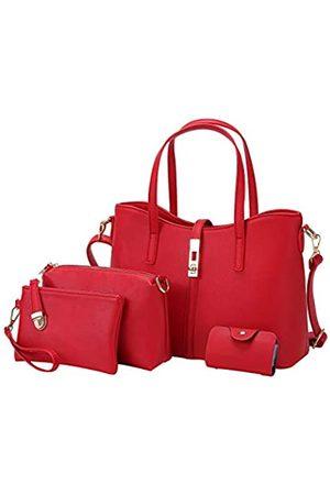 NA. Damen Handtasche PU Leder Schultertaschen Tote Bag Fashion Satchel Hobo Geldbörsen-Set 4-teilig
