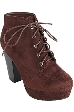 FOREVER Damen Stiefeletten - Camille-86 Women's Comfort Stacked Chunky Heel Lace Up Ankle Booties