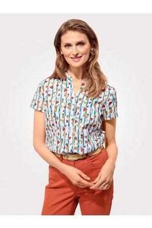 Mona Damen Blusen - Kurzarmbluse aus reiner Baumwolle