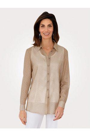 Mona Damen Blusen - Hemdbluse in halbtransparenter Struktur
