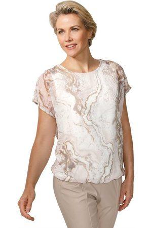 MONA Damen Blusen - Schlupfbluse mit modischem Marmor-Druck